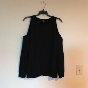 Forever 21 cold shoulder sweatshirt black m